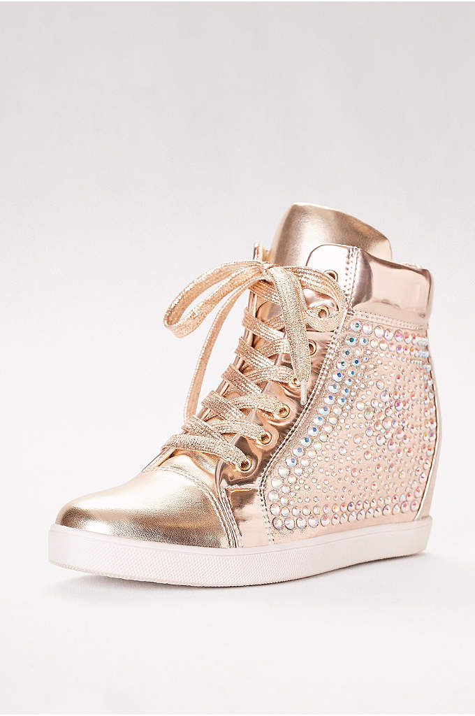 High-Top Metallic Sneaker with Built-In Heel - A fresh take on party dressing, this glam
