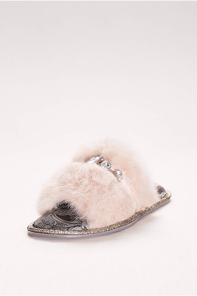 Jeweled Faux-Fur Slide Slippers - These bridal slippers will keep your toes toasty