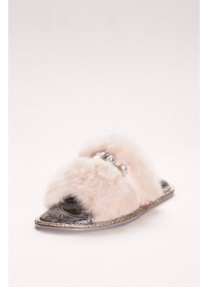 Pretty You London Ivory (Jeweled Faux-Fur Slide Slippers)