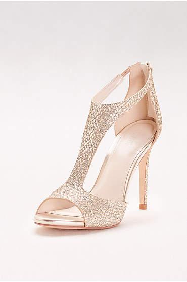 Glitter Fabric T-Strap Heels