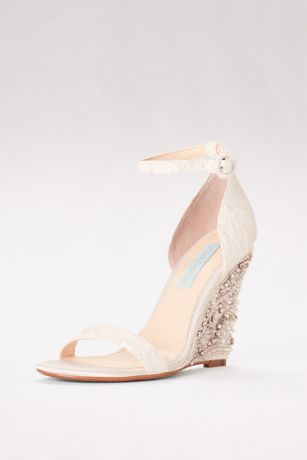 High Heel Embellished Wedges with Ankle Strap | David's Bridal
