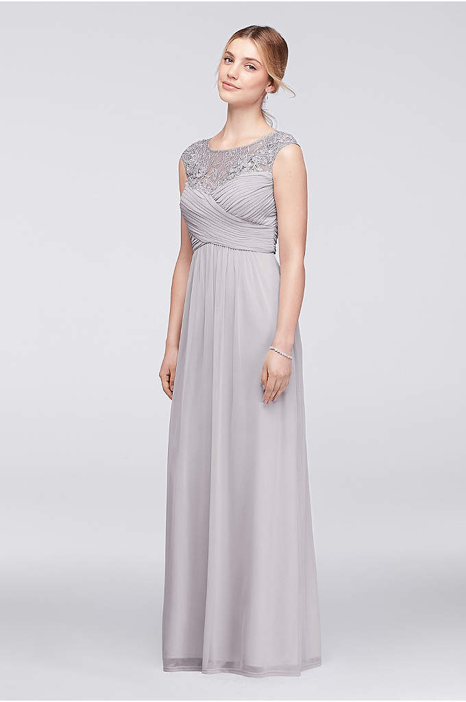 Pleated Mesh Illusion Gown with Floral Appliques - Light-as-air mesh is the perfect fabric for a