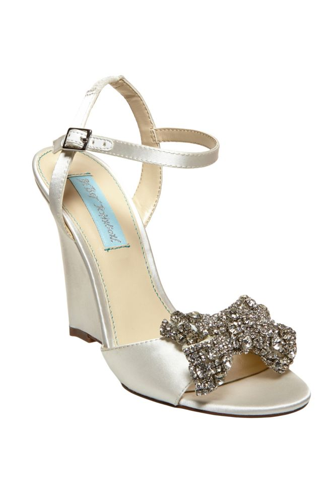Davids Bridal Wedding Amp Bridesmaid Shoes Blue By Betsey Johnson Wedge Sandal