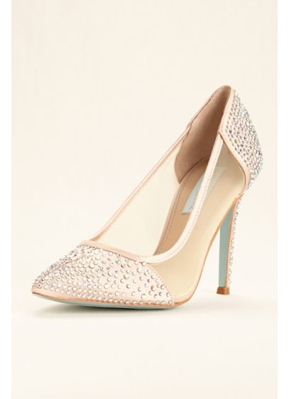 Blue By Betsey Johnson Ivory (Blue by Betsey Johnson Mesh Crystal Studded Pumps)