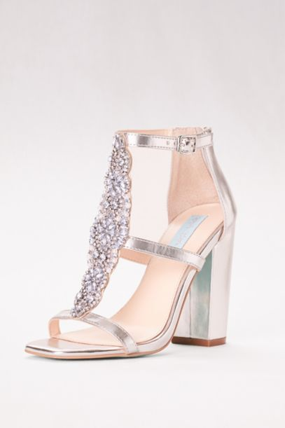 Crystal T-Strap High Heel Sandals with Block Heel | David's Bridal