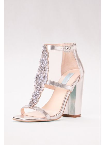 Blue By Betsey Johnson Grey (Crystal T-Strap High Heel Sandals with Block Heel)