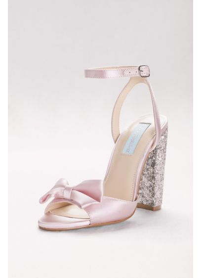 Blue By Betsey Johnson Ivory (Bow-Front Satin Pumps with Glitter Block Heel)