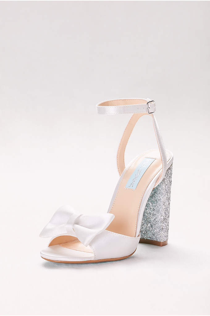 Bow-Front Satin Pumps with Glitter Block Heel - These pretty satin high-heel sandals combine a feminine