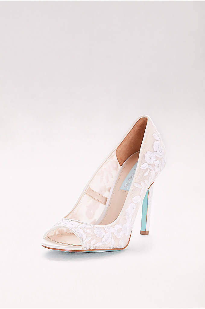 Floral-Embroidered Mesh Peep-Toe Heels - Delicate floral embroidery on a sheer mesh upper