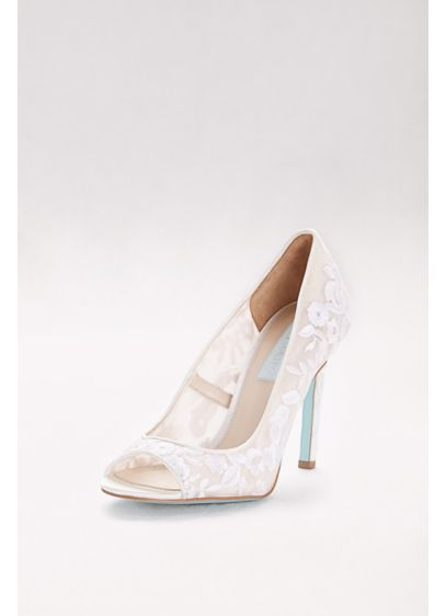 Blue By Betsey Johnson Ivory (Floral-Embroidered Mesh Peep-Toe Heels)