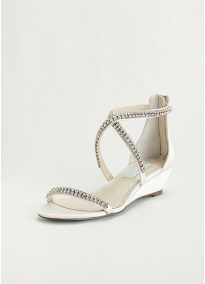 Blue By Betsey Johnson Ivory (Blue by Betsey Johnson Crystal Embellished Wedges)