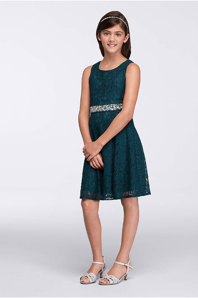 Short Lace Dress with Beaded Belt - Your little girl will feel all grown up