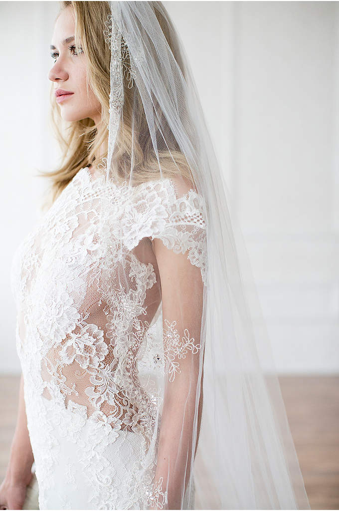 Metallic Embroidered Cathedral Veil with Crystals - Glinting metallic thread, sparkling rhinestones, and marquise crystals