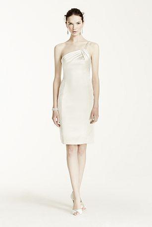 Pearl Beaded One Shoulder Short Satin Dress