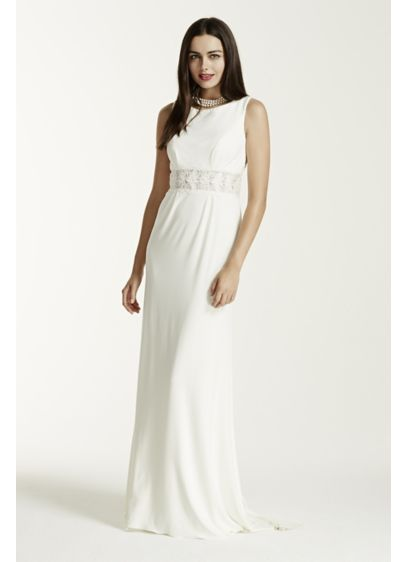 Jersey sheath dress with illusion waist and back david 39 s for Wedding dresses new jersey