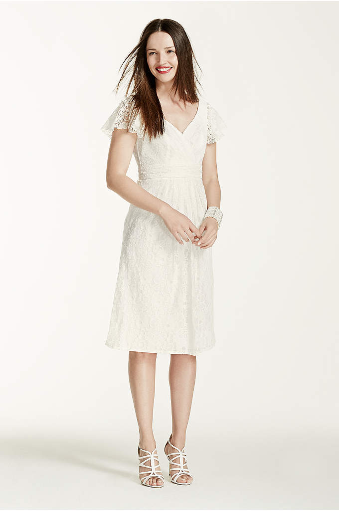 Cap Sleeve Short Lace Dress with Embellished Waist - Short, sweet, and simple. This is an adorable