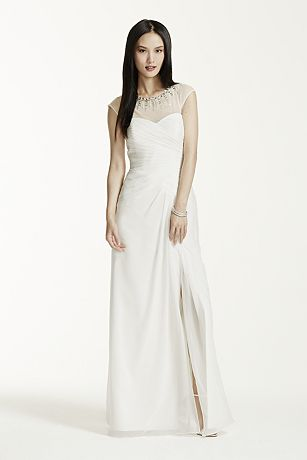 Chiffon A Line Dress with Beaded Neckline