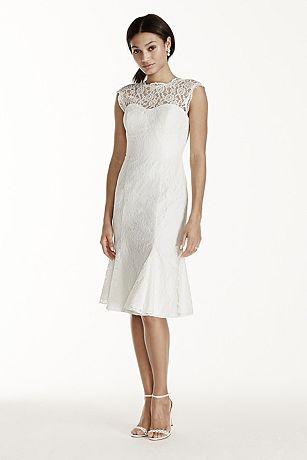 Short Lace Cap Sleeve Dress with Flounce Skirt