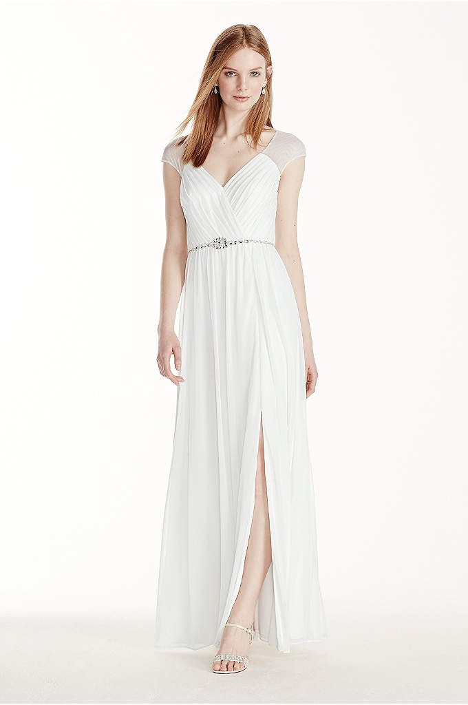Satin Wedding Dress With Detachable Cap Sleeves Davids