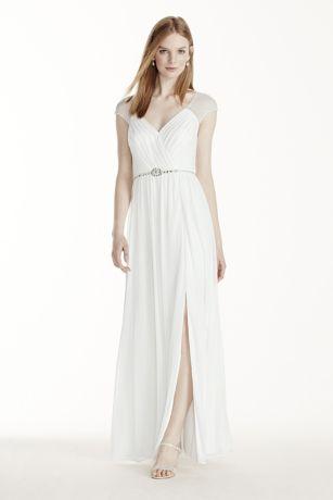 Chiffon Wedding Dress with Cap Sleeves