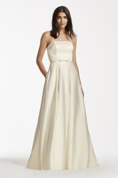 Strapless Satin Aline Gown with Pockets | David's Bridal