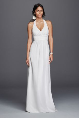 Chiffon Sheath Halter Wedding Dress Davids Bridal