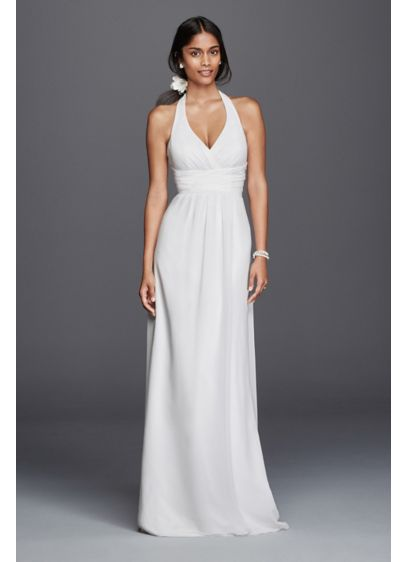 Chiffon sheath halter wedding dress davids bridal for Davids bridal beach wedding dresses