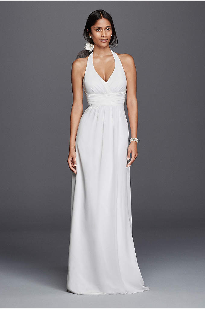 Chiffon Sheath Halter Wedding Dress - Simplistic elegance are the words that will come