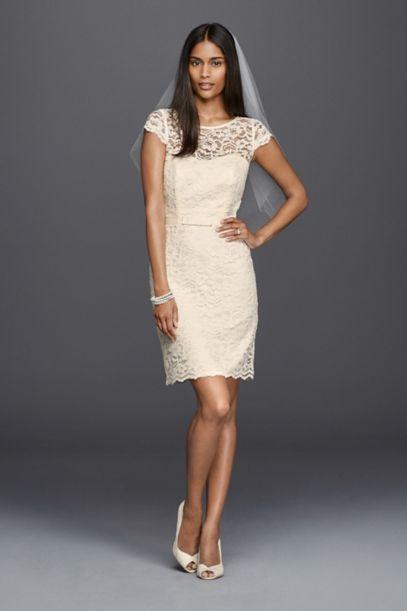 Lace Cap Sleeve Short Wedding Dress - Davids Bridal
