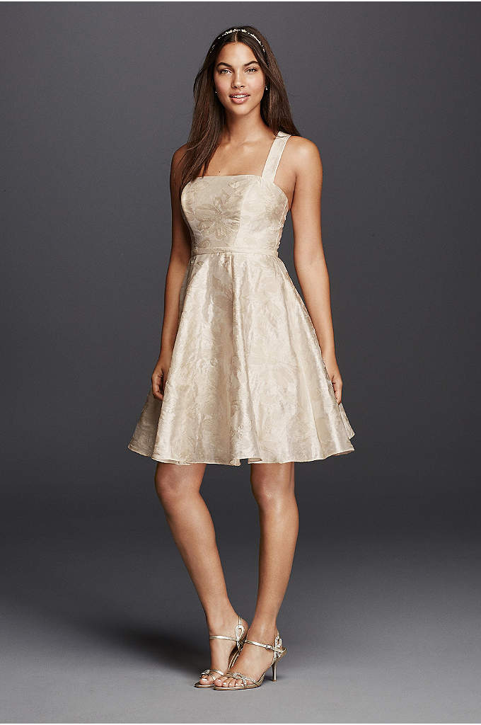 Short Dress with Criss Cross Back Straps - This fun and flirty short, Jacquard casual wedding