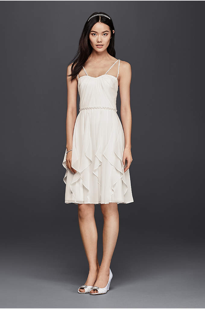 Short Wedding Dress with Frilly Skirt - With cascading chiffon tiers for graceful movement and