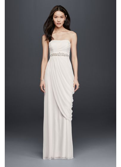 sheath wedding dress with beading and side drape david 39 s