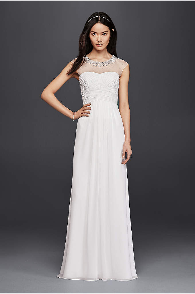 Sheath Wedding Dress with Beaded Illusion Neckline - This art deco-inspired sheath wedding dress marries an