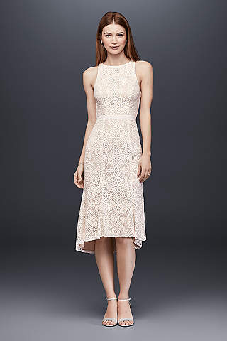 Vestido Recto de Encaje de Largo Midi