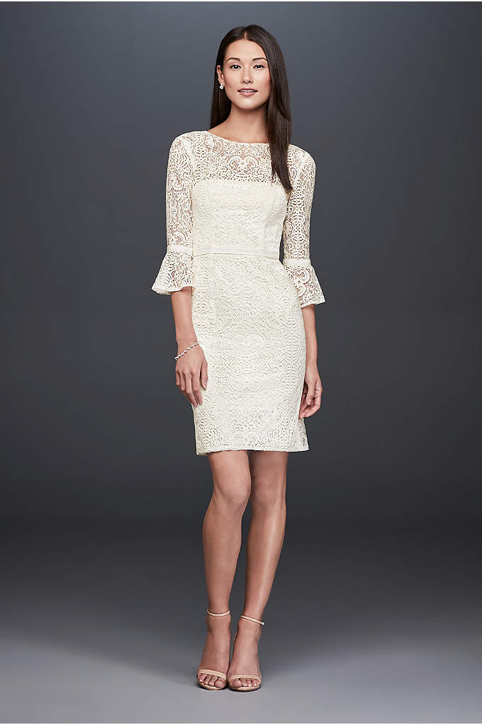 Short Illusion Lace Dress with 3/4 Bell Sleeves - Perfect for a bridal brunch or a casual