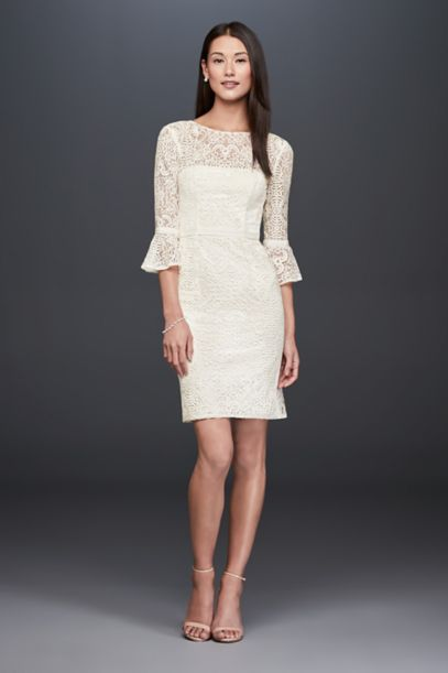 Short Illusion Lace Dress With 3 4 Bell Sleeves David S
