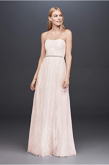 Soft Floral Lace Sheath Gown with Blush Lining