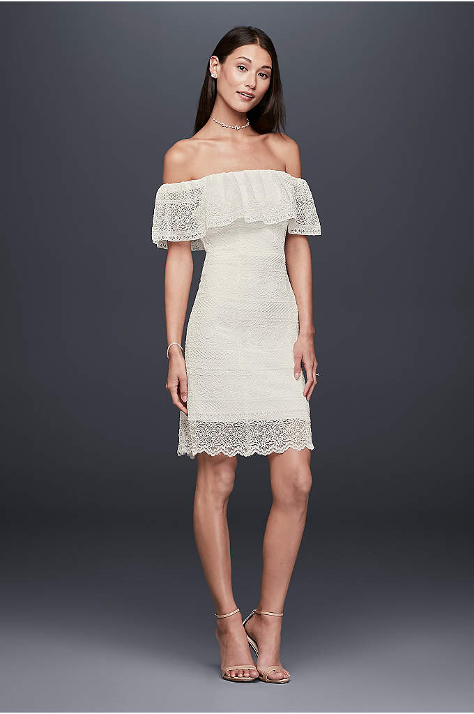 Off-the-Shoulder Flounced Short Lace Dress - A flippy, flirty flounce forms the off-the-shoulder sleeves