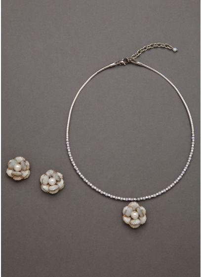 Enamel Pearl Flower Set - Wedding Accessories