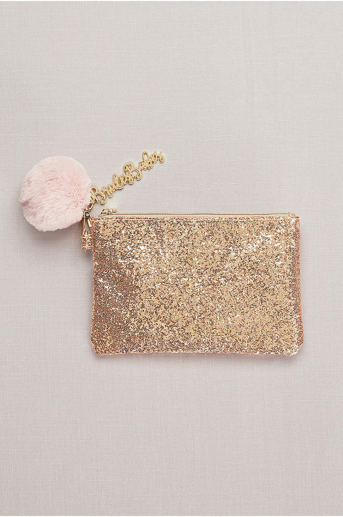 Bride's Babes Glitter Pouch with Pompom Keychain - This fun, glittery carryall will make corralling day-of