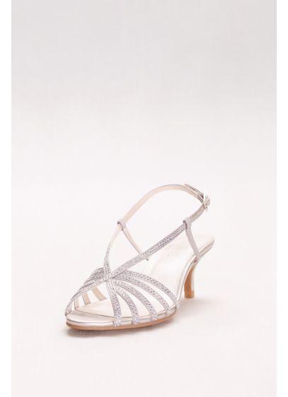 David S Bridal Grey Rhinestone Embellished Stry Low Heels