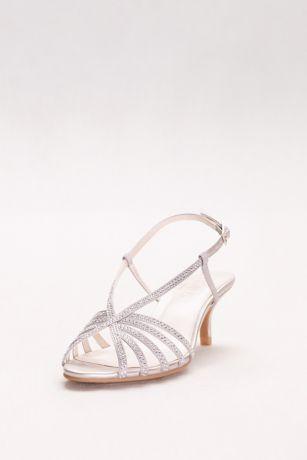 Davidu0027s Bridal Grey (Rhinestone Embellished Strappy Low Heels)