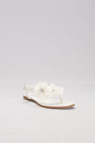 Sandalias de Pata de Gallo Con Flores de Chiffon