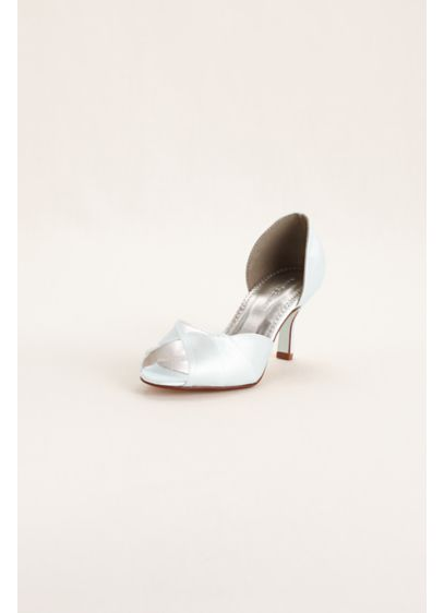 David's Bridal White (Dyeable Peep Toe Mid Heel with Scalloped Edge)