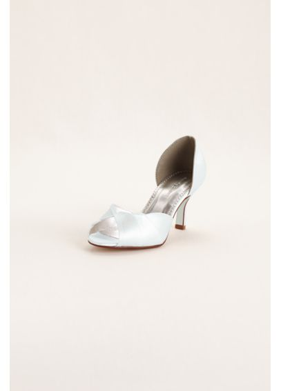 Dyeable Peep Toe Mid Heel with Scalloped Edge SHELLIEWHITE