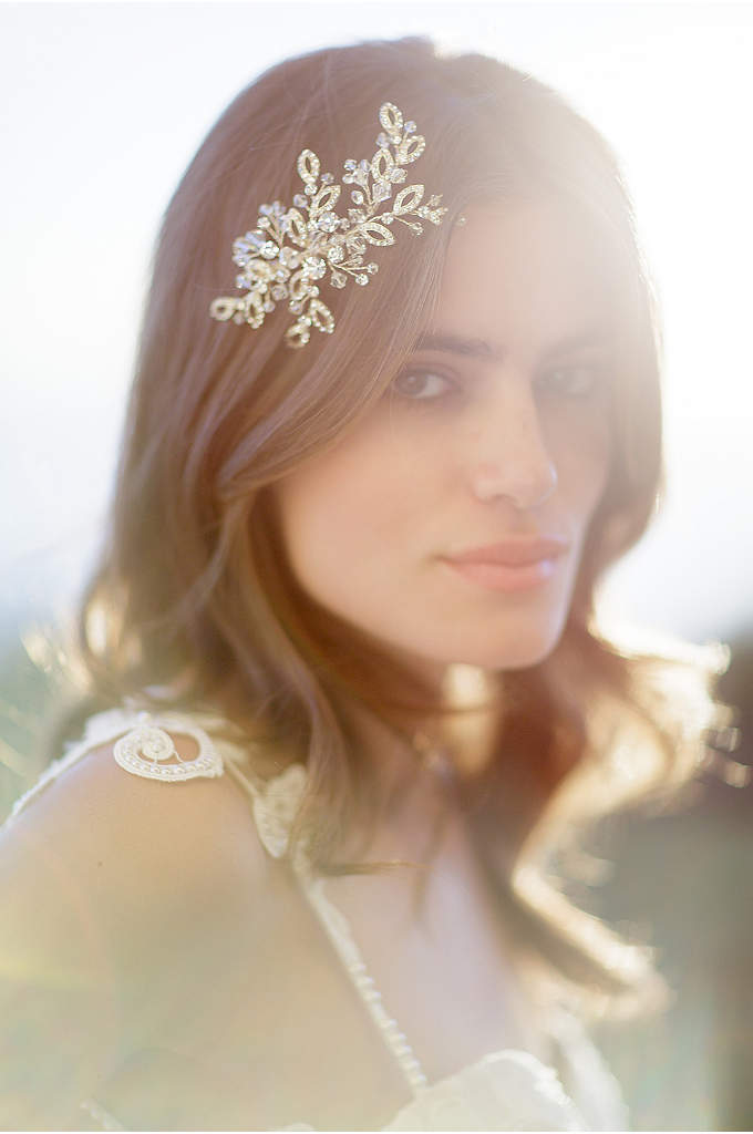 Hand-Wired Open-Leaf Crystal Barrette - A delicate spray of open leaves and crystal