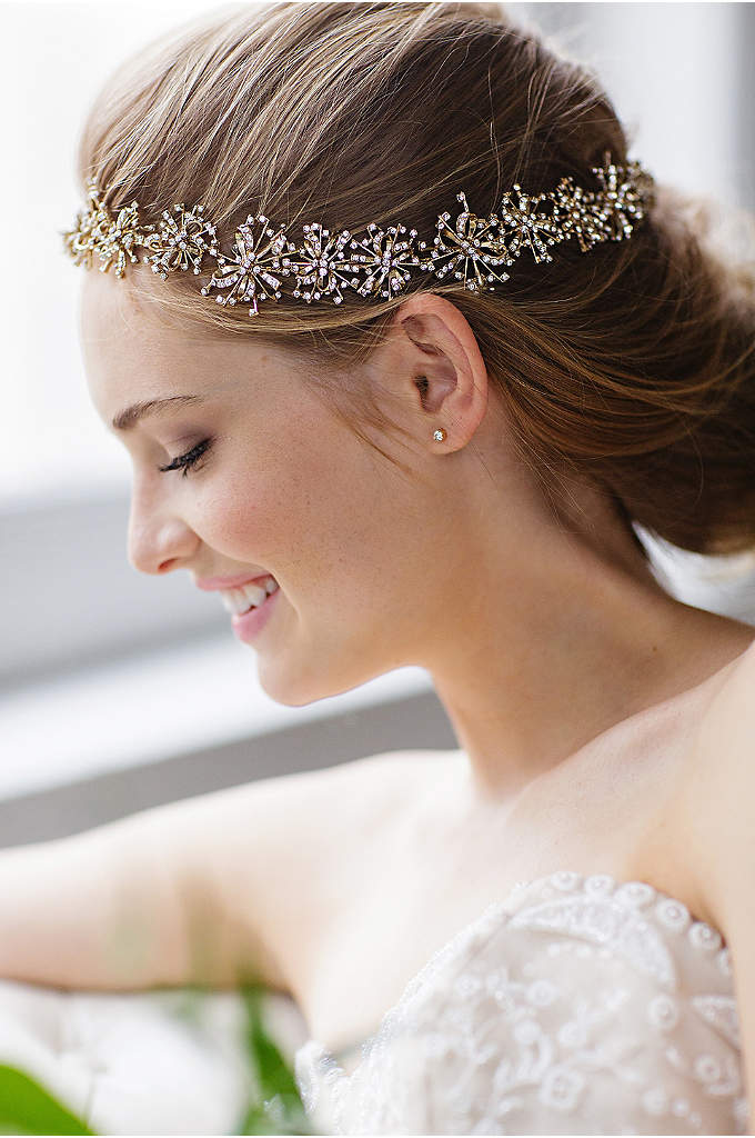Deco Starburst Halo Headband and Sash - You have beautiful options with this delicate, crystal-encrusted