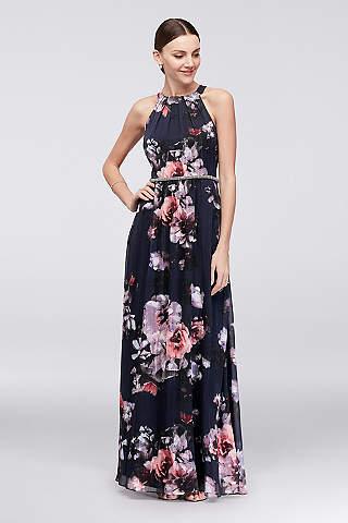 Vestido Halter de Chiffon Floral Con Cinturón de Pedrería
