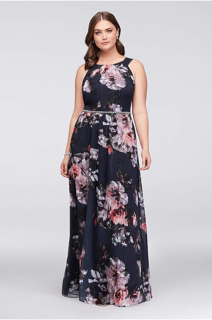 Floral Plus Size Halter Dress with Beaded Belt - This floral chiffon plus-size halter dress makes a