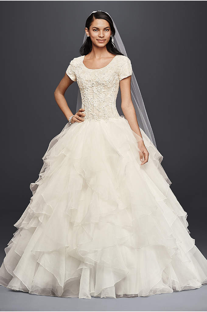Oleg Cassini Short Sleeve Modest Ball Gown - Tier up in a modest wedding dress that